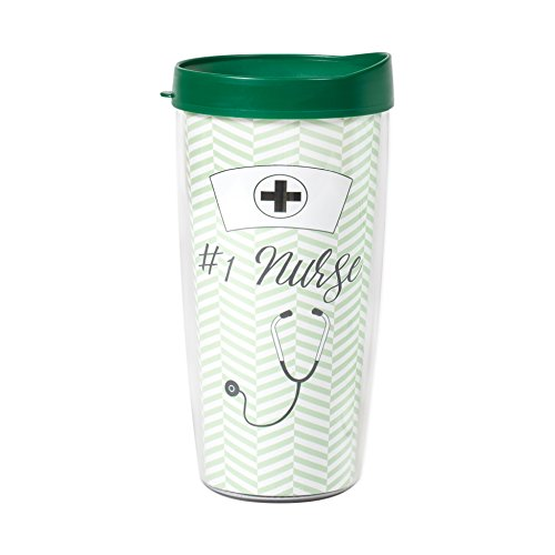 Mug Signature Travel Oz 16 - Number One Nurse Herringbone Mint Green Wrap 16 Oz Travel Tumbler Mug with Lid