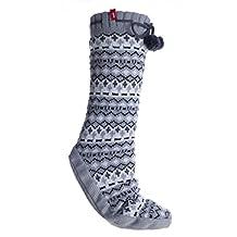 Altos Grey Print Non-Skid Fuzzy Size Large Slipper Socks With Pom Poms
