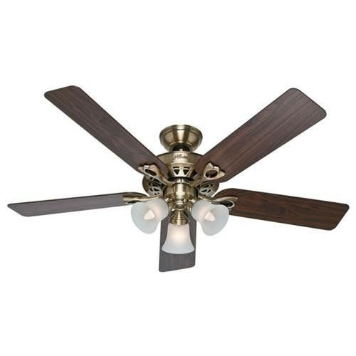 Sontera Three Light (Hunter 53115 The Sontera 52-Inch Antique Brass Ceiling Fan with Five Walnut/Medium Oak Blades with Light Kit)