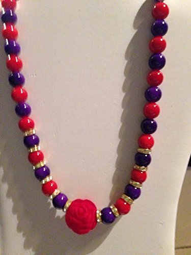 Red and Purple Beads with Rhinestone Sliders with a Red Velvet Rose bead in center Necklace - Purple Sliders Pendant