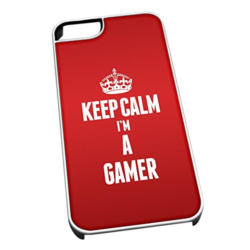 Bianco cover per iPhone 5/5S 2590 Red Keep Calm I m A gamer