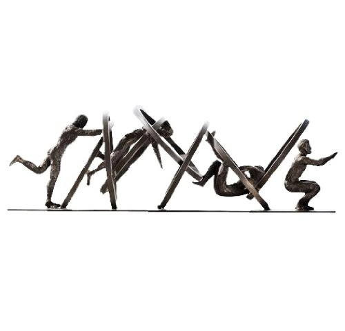 Global Views Jumping Through Hoops Sculpture 8.80791-Jumping Series of Tumbling Men, Trying to Reach The end. Made Sits Base. Material: Iron, White Marble, 19-Inch, Black