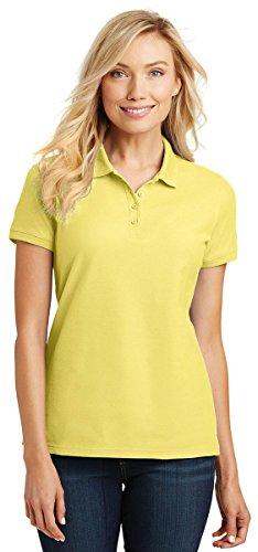 Port Authority Ladies Core Classic Pique Polo. L100 Lemon Drop Yellow M