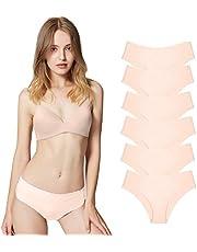 Misolin Damen Slips Nahtlos Unterwäsche Bikinis Taillenslips Seamless Unsichtbare Dehnbare Bequeme Panties Hipsters 3/6 Pack