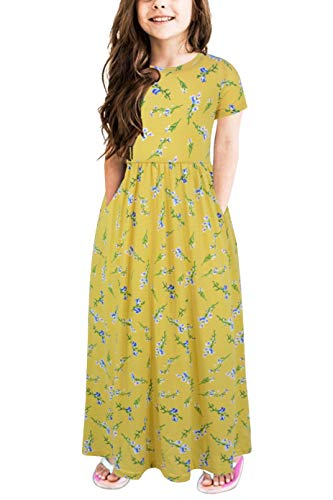 Gorlya Girl's Short Sleeve Floral Print Loose Casual Holiday Long Maxi Dress with Pockets 4-12 Years (6-7Years/Height:120cm, Yellow Print) ()
