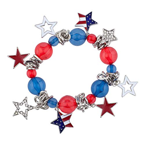 Lux Accessories Red Blue Beads White Stars American Flag Stretch Bracelets