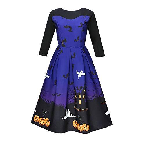 Realdo Womens Halloween Ghost Dress, Clearance Sale Print 3/4 Sleeve Casual Retro Pleated Party Dresses(Medium,Blue) ()