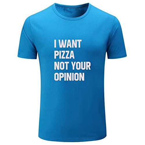 Men's I Want Pizza Not Your Opinion Cute Graphic Loose Shirts (Light_Blue,S) ()