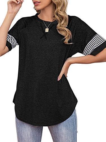Esobo Womens Short Sleeve Raglan Crewneck T Shirts Tees Color Block Casual Tee Shirts Loose Fit Tshirts Tops
