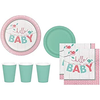 Amazoncom Baby Shower Paper Plates Cups And Napkins Gender