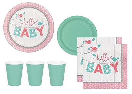 Baby Shower Paper Luncheon Plates - Gender Neutral Baby Shower Supplies - Pink And Mint Green Dinner or Luncheon Plates, Appetizer or Dessert Plates, Cups And Napkins Serves 24 Guests