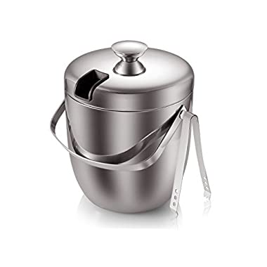 Fortune Candy(TM) Double Wall Stainless Steel Ice Bucket with Tong,3 Litre/0.8 Gal