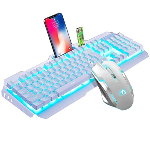 JINXUXIONGDI Desktop Notebook Universal Keyboard and Mouse Set Headset Three-Piece Real Mechanical Feel Chicken Game Metal Panel Cool Lighting Effect Home Gaming Peripheral Cable Mouse (Color : Blue) (Universal Keyboard For Desktop)