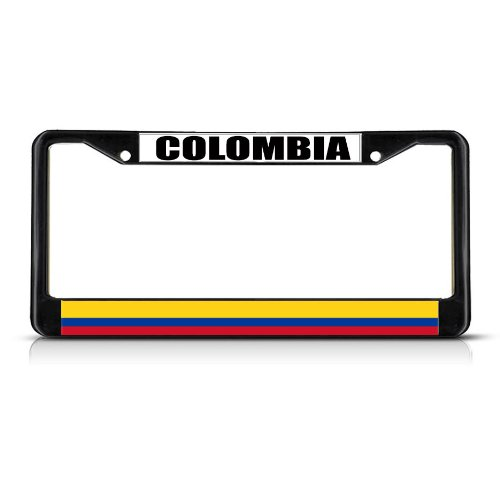 COLOMBIA COLOMBIAN FLAG Black Heavy Duty Metal License Plate Frame