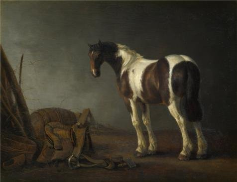 The High Quality Polyster Canvas Of Oil Painting 'Abraham Van Calraet - A Horse With A Saddle Beside It,about 1680' ,size: 30x39 Inch / 76x99 Cm ,this Reproductions Art Decorative Prints On Canvas Is Fit For Kids Room Decoration And Home Gallery Art And Gifts (Cheetah Fabric Drawer)