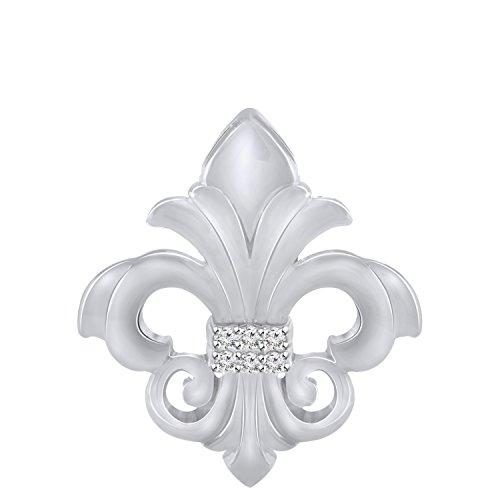 Pretty Jewels Sterling Silver Genuine Diamond Fleur-de-Lis Pendant Necklace (0.07 Carat) ()