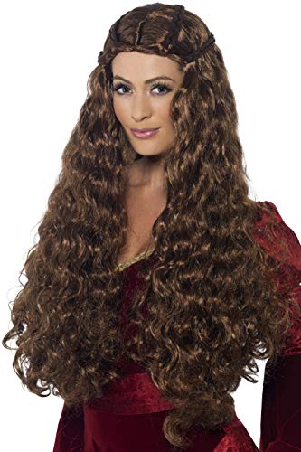 Smiffys Women's Extra Long and Curly Brown Wig with Braids, One Size, Medieval Princess Wig, 43661 -