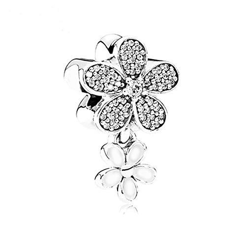 - Calvas 5PCS Silver Color Dazzling Daisy Duo White/Pink Enamel Clear CZ Flower Pendant Charms Fit Bracelets & Necklaces Jewelry Making - (Color: J1-03)