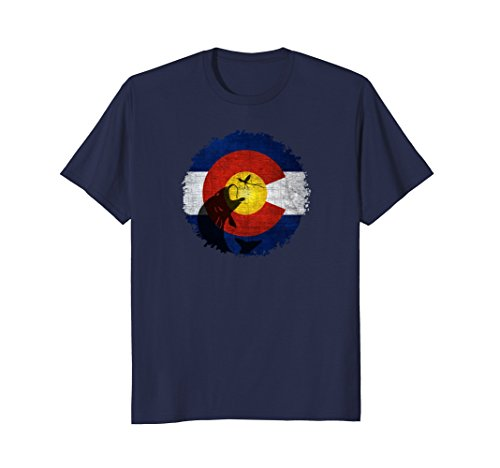 Mens Colorado Flag T-Shirt with Fly Fishing Design 3XL Navy
