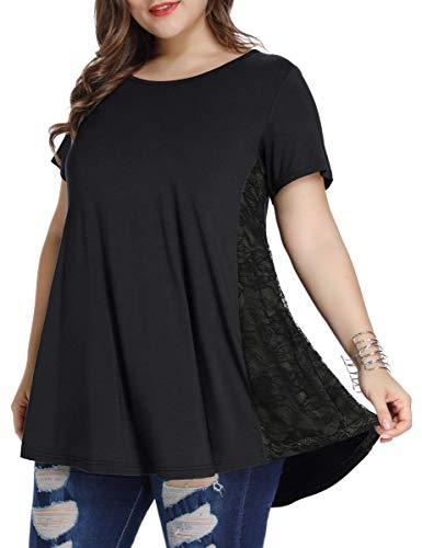 LARACE Women Lace Tunic Top Short Sleeve Flare T Shirt for Leggings(2X, Black)