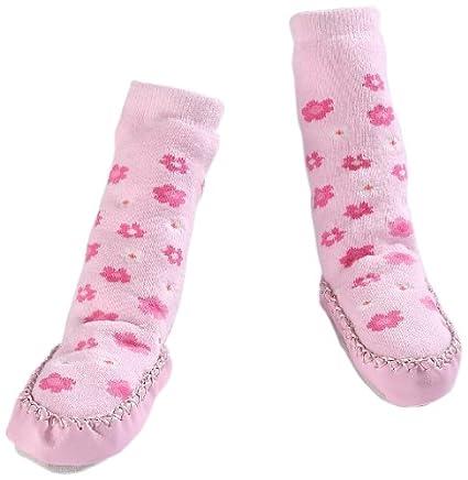 Minene – bebé Zapatillas de calcetines para 6 – 12 meses (rosa flores)