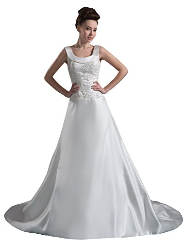 Vogue007 Womens Straps Silk Pongee Wedding Dress with Embroidery, White, Customized by Unknown