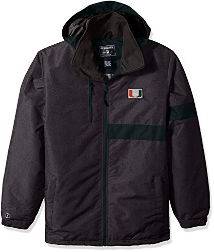 Ouray Sportswear NCAA Miami Hurricanes Men's Raider Jacket, Carbon Print/Dark Green, 2X