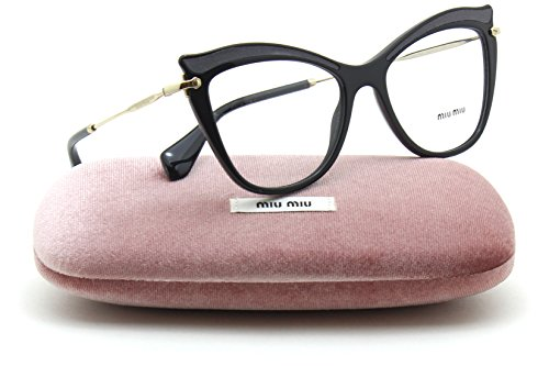 Miu Miu MU 06PV Women Cat Eye RX - able Eyeglasses (BLACK VIE1O1, - Eyewear Miu Miu Prescription