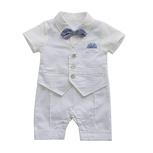 Boys Gentleman Waistcoat Bowtie Tuxedo Jumpsuit Romper Outfits ()