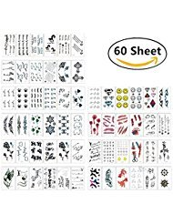 180+ Temporary Tattoos Sticker, Magnolora 60 Sheet Temporary Fake Tattoo Stickers Various Designs Removable Waterproof Body Art Tattoos Sticker for Body and Cellphones by Magnolora