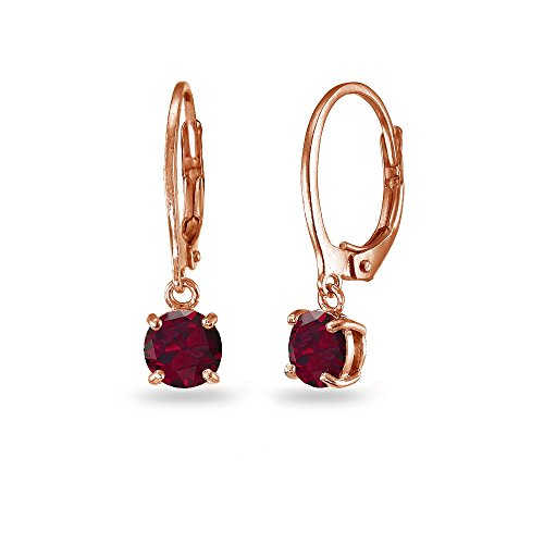 LOVVE Rose Gold Flashed Sterling Silver Created Ruby 6mm Round Dangle Leverback Earrings Rose Gold Ruby Earrings