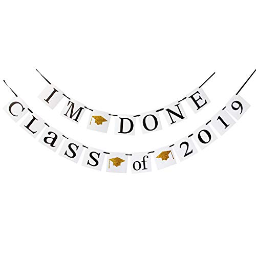 (LINGPAR I'm Done of 2019 Congrats Banner - Perfect Graduation Decorations Party Supplies for Grad Party Bunting White Black)