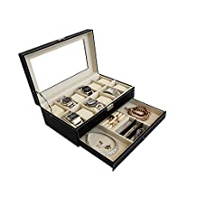 The Red P ® Watch Box Black Leather Jewelry Box 12 Grid/Slot Watch Organizer Lockable Jewelry Case Glass Top Drawer Lock & Key (Black with Beige Interior)