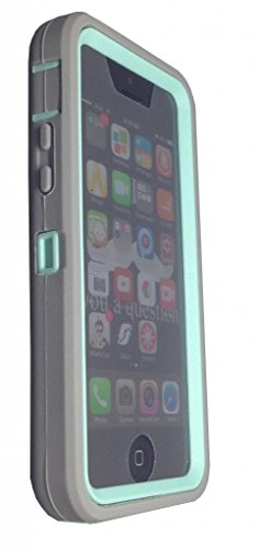 iPhone 5C case, OKASE iPhone 5C Hybrid Armor Cover Case, iPhone 5C Dual Layer Heavy Duty Case. iPhone 5C Durable Protective Silcone Layer + Plastic Shell Case, iPhone 5C Shockproof Case - ( OKASE (TM) Original User Friendly Packaging) - LightGrey on Cyan