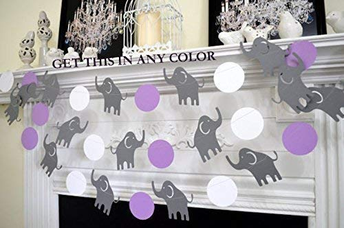 Elephant garland, baby shower decor, elephant shower decoration, nursery decoration, purple grey elephant banner, elephant birthday decor