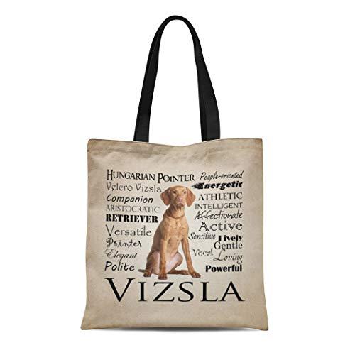 Semtomn Cotton Line Canvas Tote Bag Dog Vizsla Traits Pet Animal Breed Personality Reusable Handbag Shoulder Grocery Shopping Bags