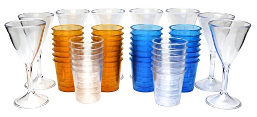 Plastic Shot Glasses and Plastic Martini Glasses for New Years Party. Comes with 40 Shot Glasses and 8 Martini - Glasses Wholesale Cheap Martini