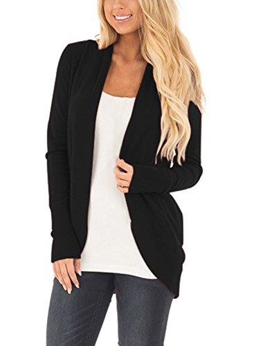Knit Sweater Outwear Open Front Kimono Cardigans, Black, Large/12-14 (Jeans Women Sweaters Cardigans)