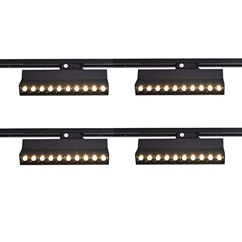 mirrea 20W Dimmable LED Array Track Lighting Heads Black Painted Compatible with Single Circuit H Type Track Rail CRI 90 Warm White 3000K Beam Angle 30° for Wall Art or Shop Window Pack of 4