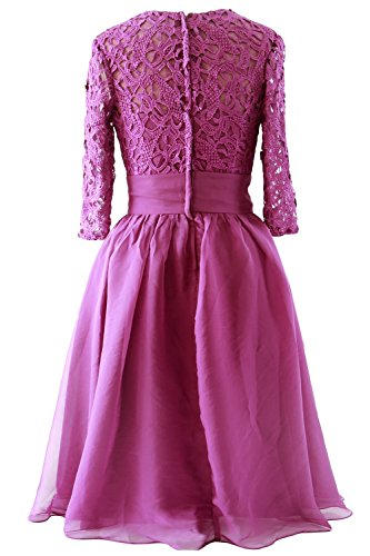 MACloth Women Half Sleeve Lace Short Mother of Bride Dress Formal Evening Gown Azul Marino Oscuro