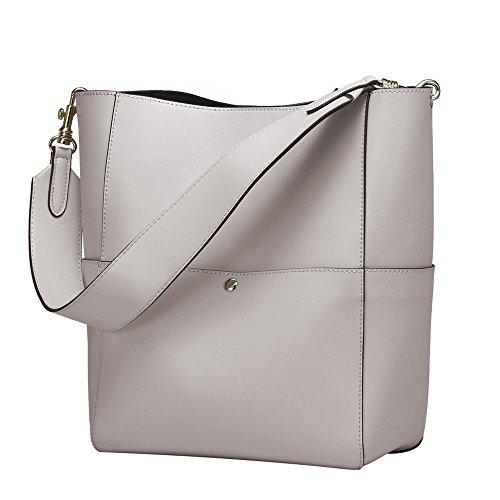 S-ZONE Women's Fashion Vintage Leather Bucket Tote Shoulder Bag Handbag Purse - Shoulder Bucket Bag Tote