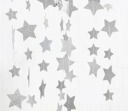 FECEDY Sparkling Star Garland Bunting for Birthday Wedding Engagement Bridal Shower Baby Shower Bachelorette Holiday Celebration Party Decorations 13 feet (Silver) -