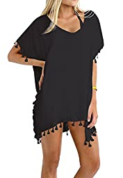 Taydey Women\'s Stylish Chiffon Tassel Beachwear Bikini Swimsuit Cover up Black,One Size-Free size