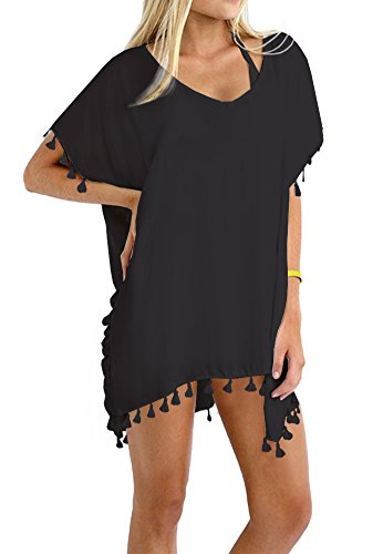 Taydey Women's Stylish Chiffon Tassel Beachwear Bikini Swimsuit Cover up Black,One Size-Free size (Bikini Cover)