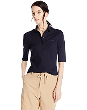 Lacoste Women's Half Sleeve Slim Fit Stretch Pique Polo