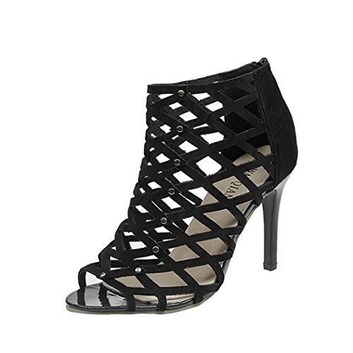 ホット販売、aimtoppy女性のファッションつま先高ヒール靴リベットローマグラディエーターサンダル US:8 ブラック AIMTOPPY