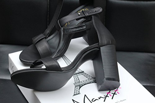 PU Thick Black Shoes Shoes Shape Rome T High Heeled Cool Leather Black Heel Brush High rqr0O4