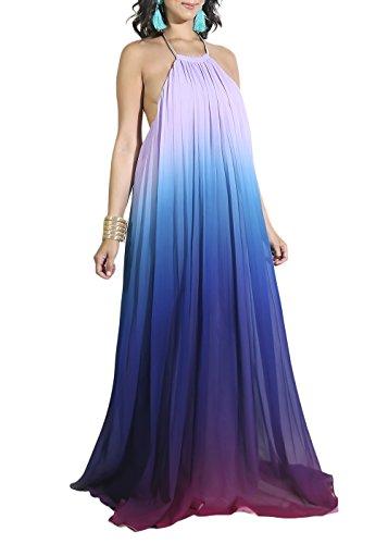 Cosygal Women's Chiffon Halter Gradient Print Pleated Backless Maxi Long Dress Purple X-Large