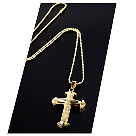 Gold Chain Necklace 24K Cross Pendant Necklace 30X Thicker Than Any Overlay USA Made. (24k Gold Necklace Solid)