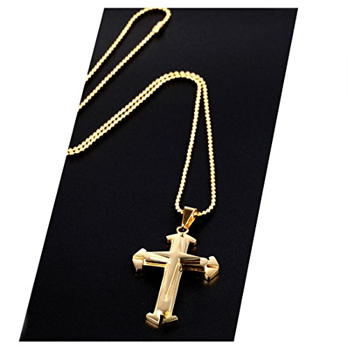 Gold Cross Pendant and Necklace 24K Solid Gold Filled Tarnish Resistant USA Made! (24) - 24 Carat Gold Chain